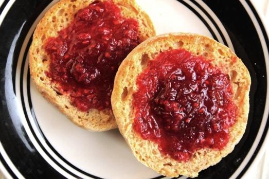 Raspberry Rhubarb Freezer Jam {{Baking Bytes}}