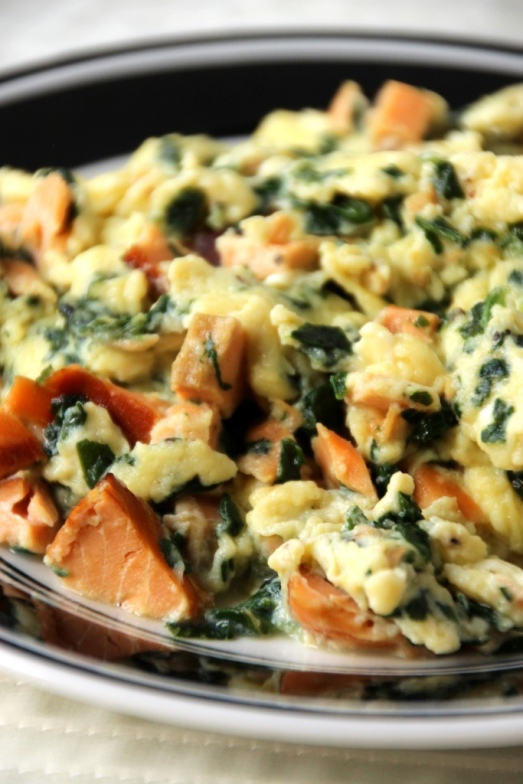 Smoked Salmon & Spinach Scrambled Eggs {{Baking Bytes}}