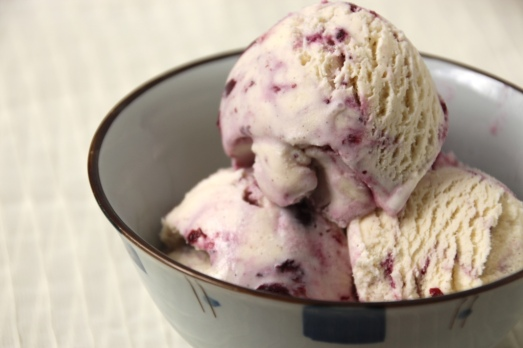 Blueberry Cardamom Cheesecake Ice Cream {{Baking Bytes}}