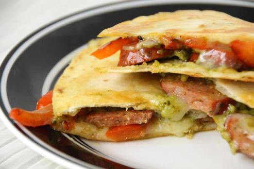 Pesto Andouille Sausage Quesadilla {{Baking Bytes}}