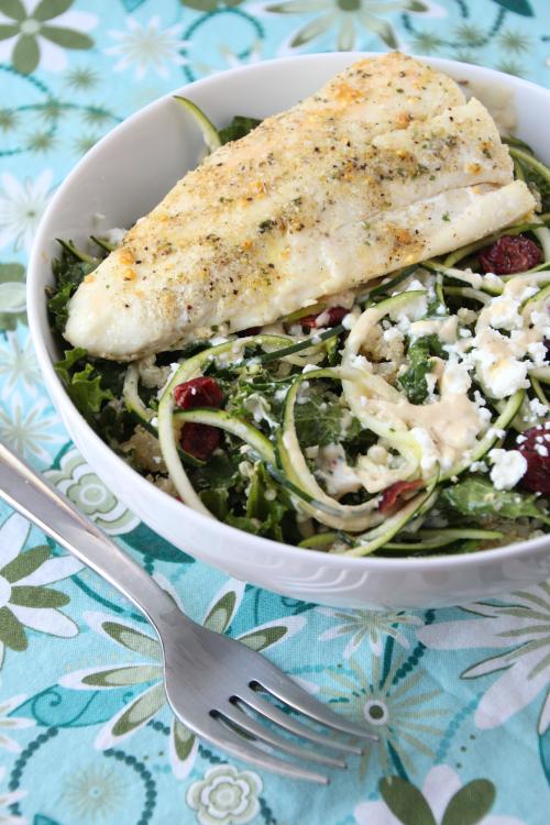 Lemon Quinoa & Kale Salad with Halibut {{Baking Bytes}}