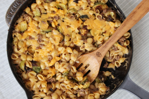 Roasted Brussels Sprouts Mac & Cheese {{Baking Bytes}}