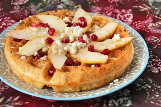 Pear & Pomegranate Protein Waffle {{Baking Bytes}}